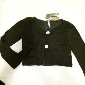 Avatar from Nepal, Hunter Green Cropped Cardigan S